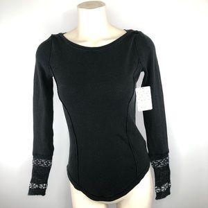 🌟FREE PEOPLE-Black boho long sleeve fancy scoop S
